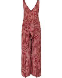 Diane von Furstenberg - Acella Tie-front Tiger-print Cotton And Silk-blend Voile Jumpsuit - Lyst