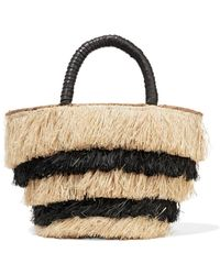 Kayu - Pinata Mini Leather-trimmed Fringed Straw Tote - Lyst
