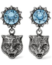 Gucci - Silver-tone Aquamarine Earrings - Lyst