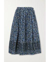 Horror Vacui Margot Ruched Floral-print Cotton-poplin Midi Skirt - Blue
