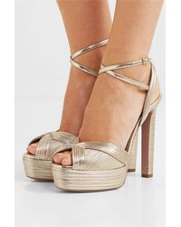 Aquazzura Caprice 130 Metallic Faux Leather Platform Sandals