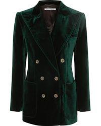 Bella Freud Bianca Double-breasted Cotton-velvet Blazer - Green