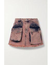 Marques'Almeida Frayed Acid-wash Denim Mini Skirt - Pink