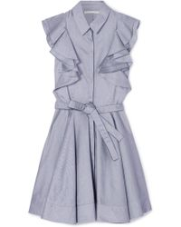 Antonio Berardi - Ruffled Cotton-chambray Mini Dress - Lyst
