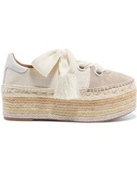 Chloé | Qai Canvas, Suede And Leather Espadrille Platform Trainers | Lyst