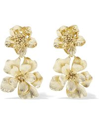 Oscar de la Renta - Gold-plated Clip Earrings Gold One Size - Lyst