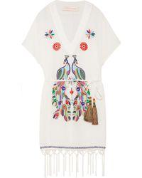 Matthew Williamson - Macramé-trimmed Embroidered Cotton-crepon Kaftan - Lyst