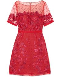 Notte by Marchesa - Embroidered Flocked Tulle Mini Dress - Lyst
