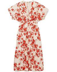 Johanna Ortiz - Floral-print Cotton-poplin Midi Dress - Lyst