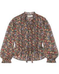 Doen Cezanne Belted Floral-print Cotton-voile Blouse - Black