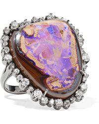 Kimberly Mcdonald - 18-karat Blackened Rose Gold, Diamond And Opal Ring Rose Gold 7 - Lyst