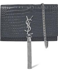 Saint Laurent Kate Croc-effect Leather Shoulder Bag - Gray