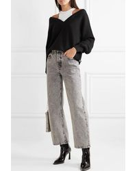 T By Alexander Wang - Layered Merino Wool And Stretch Cotton-jersey Sweater - Lyst