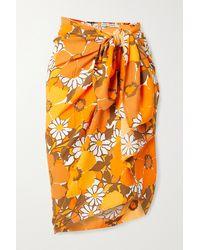 Faithfull The Brand Net Sustain Nixie Floral-print Voile Pareo - Orange