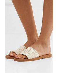 Chloé Woody Leather-trimmed Logo-embroidered Lace Slides - White