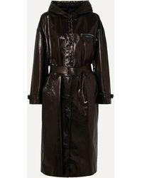 Prada Hooded Patent-leather Trench Coat - Black