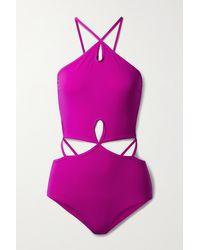 Christopher Esber Cutout Halterneck Swimsuit - Purple