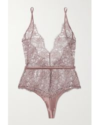 Coco De Mer Gaia Satin-trimmed Metallic Lace Bodysuit - Brown