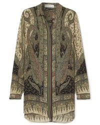 Etro Paisley-print Silk Crepe De Chine Shirt - Green