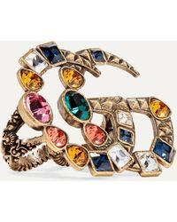 Gucci Goldfarbener Zwei-finger-ring Mit Kristallen - Mettallic