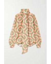 CASABLANCA Tie-detailed Printed Silk-twill Blouse - Natural