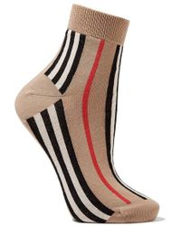 Burberry - Striped Cotton-blend Socks - Lyst