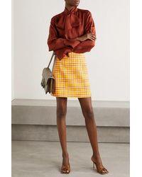 Gucci Karierter Minirock Aus Woll-tweed - Gelb
