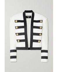 Balmain Button-embellished Satin-trimmed Crepe Blazer - White