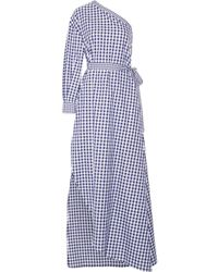 Rosetta Getty - One-shoulder Gingham Cotton Wrap Gown - Lyst