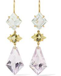 Marie-hélène De Taillac - 22-karat Gold Multi-stone Earrings Gold One Size - Lyst
