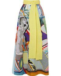 Mary Katrantzou - Camilla Belted Printed Seersucker Maxi Skirt - Lyst