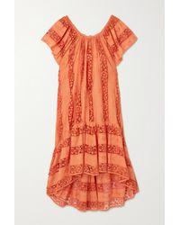 Miguelina Danica Crochet-paneled Embroidered Cotton-voile Dress - Orange