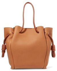 Loewe Flamenco Small Textured-leather Tote - Brown