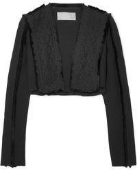Antonio Berardi - Cropped Fringed Broderie Anglaise And Crepe Jacket - Lyst