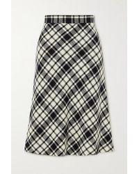 Miu Miu Prince Of Wales Checked Wool-blend Midi Skirt - Black