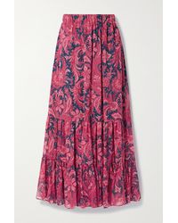 Etro Tiered Paisley-print Silk-crepon Maxi Skirt - Multicolour