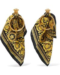 Versace - Gold-tone And Printed Silk-twill Earrings - Lyst