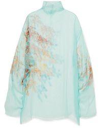 Dries Van Noten Darci Oversized Floral-print Silk-tulle Tunic - Blue
