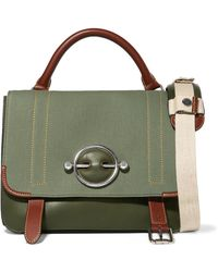 JW Anderson - Disc Lace-up Leather And Canvas Shoulder Bag - Lyst