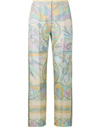 Emilio Pucci - Printed Silk-twill Tapered Pants - Lyst