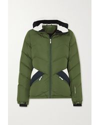Perfect Moment Apres Duvet Striped Quilted Down Ski Jacket - Green