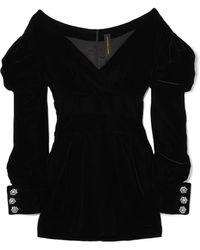 Alexandre Vauthier - Off-the-shoulder Velvet Mini Dress - Lyst