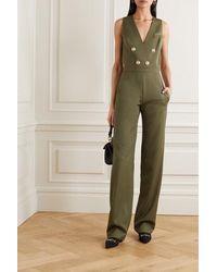 Balmain Combi-pantalon En Laine À Boutons - Vert