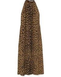 Bella Freud Edie Leopard-print Silk Crepe De Chine Halterneck Maxi Dress - Brown