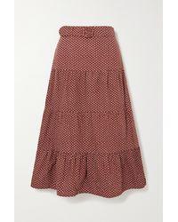 Faithfull The Brand + Net Sustain Farida Belted Polka-dot Cotton-poplin Midi Skirt - Brown