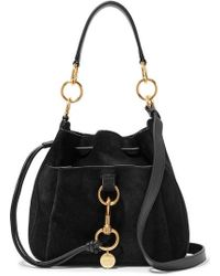 See By Chloé Tony Suede And Textured-leather Bucket Bag - Black