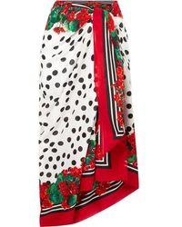 Dolce & Gabbana Paréo En Voile De Coton Imprimé - Rouge