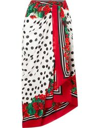 Dolce & Gabbana Printed Cotton-voile Pareo - Red