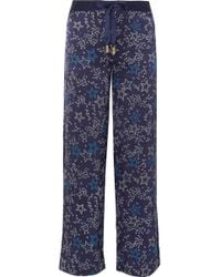 Paloma Blue - Galaxy Printed Washed Silk-satin Straight-leg Trousers - Lyst