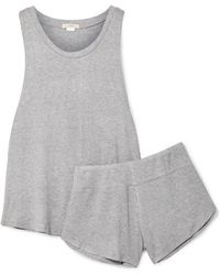 Eberjey Elon Ribbed-knit Pyjama Set - Gray